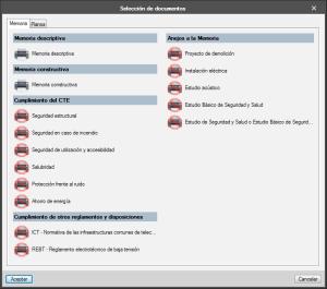 Open BIM Memorias CTE. Impresión parcial de documentos